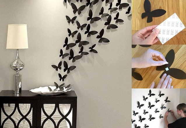 Papillons sur le mur
